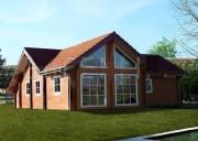 Maison en bois double madriers - Madriers : 58 mm / 150 mm /58 mm - Dépassement du toit / façade : oui