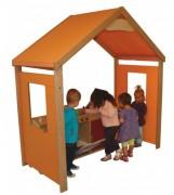 Maisonnette bois enfants avec 4 jeux - Dimensions (L x P x H) cm : 175 x 91 x 188
