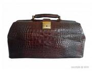 Mallette de luxe cuir de vachette - Type :  bourse de médecin - Fermoir avec serrure à clé