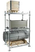 Manurack de rangement hauteur 9 mètres - En acier galvanisé à chaud - Charge par niveau : 1500 kg - Dimensions hors tout : 1545 x 1180 mm