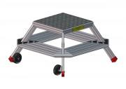 Marche pieds Trapézoïdal aluminium - Equipé de 2 roues Ø 125 mm