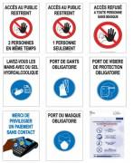 Affiche gestes barrières prévention Covid -  Impression sur vinyle, colle enlevable/pose sans bulle