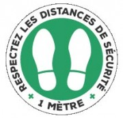 Marquage au sol rond distance de sécurité (lot de 5) - Adhésif - Différentes mentions disponibles - Par lots de 5