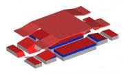 Matelas de réception modulaire saut perche compétition 8.45 x 5 m - Dimensions : L 8m45 x l 5m00 x H 0m80 - Conformes IAAF
