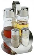 Ménagère 4 pièces: sel, poivre, huile, vinaigre - Longueur x Largeur: 12.5 x 11 cm - Hauteur: 19 cm