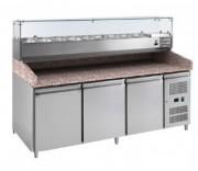 Meuble à pizza 3 portes avec kit réfrigéré - Construction inox intérieur et extérieur