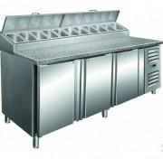 Meuble à pizza 3 portes en acier inoxydable - Contrôle numérique de température, isolation : 60 mm