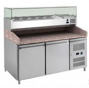 Meuble à pizza avec vitrine réfrigérée - Réfrigération ventilée +2°C/+8°C à 40°C, groupe logé