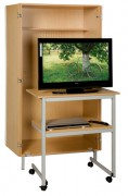 Meuble audiovisuel scolaire avec table roulante - Dimensions : 900 x 1840 x 600 mm