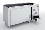 Meuble avec portes et tiroirs en inox - Dimensions : Jusqu'à 2400 x 700 x 850 mm