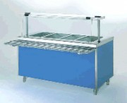 Meuble bain marie à eau en acier inox - 2.40 kW - 4 bacs