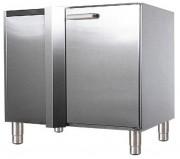 Meuble d'angle 1 porte inox - Matière : Inox - Dim ( L x l x H ) : 900 x 605 x 860 mm- Charnières à droite ou à gauche