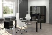 Meuble de bureau en verre - Dimensions extérieures (L x P x H) cm : 218 x 90 x 72