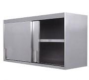 Meuble égouttoir de cuisine - Matière :  inox AISI 304L- Dim ( L x l x H ) : 1350 x 450 x 695 mm- 2 portes coulissantes