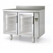 Meuble frigorifique inox - Inox - Portes vitrées - Groupe à distance