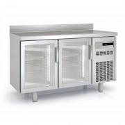 Meuble frigorifique vitré à pieds réglables - Inox - -2°/ 8°C - 2 à 5 portes vitrées