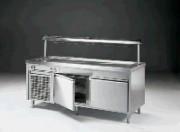 Meuble froid de self-service inox - 2 portes - 0.37 kW de puissance électrique