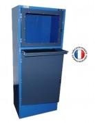 Meuble informatique d'atelier - Meuble monobloc avec une partie basse avec porte pour le rangement de l'ordinateur. Cette partie est équipée de grilles de ventilation.