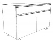 Meuble mixte de laboratoire - 1 tiroir avec 1 porte ou 1 tiroir avec 2 portes
