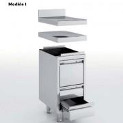Meuble neutre avec tiroirs en inox - Dimensions : 400 x 600 x 600 mm