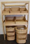 Meuble osier pour boulangerie - 2 chariots sur roues   -  Présentoirs inclinés