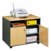 Meuble photocopieur 2 portes+tablette et niche coloris hêtre anthracite - Simmob