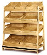 Meuble présentoir pain en osier - Dimensions (L x P x H) cm : 130 x 60 x 165