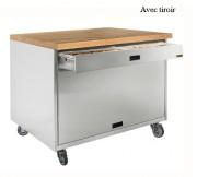 Meuble professionnel parisien - Matière : en inox AISI 304L- Dim( L x Prof. x H) : 997 x 800 x 900 mm- Avec ou sans tiroir à céréales