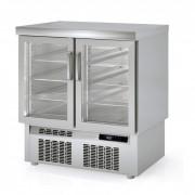 Meuble réfrigéré 700 compact - Inox - 2 ou 3 portes double vitrage   éclairage LED