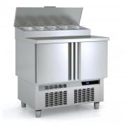 Meuble saladette température positive - Fabrication espagnole - Certifié ISO 9001 et 14001 - Modèle : 2 -3 portes