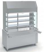 Meuble self service réfrigéré 3 niveaux - Inox - avec ou sans réserve - Capacité : 4 GN
