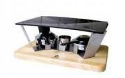 Mini plancha de table à brûleurs alcool - Dimensions (mm) : 345 x 220 x 100 mm