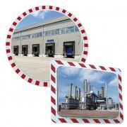 Miroir industriel antigivre antibuée - Miroirs industriels avec cadre rouge et blanc
