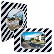 Miroir réglementaire d'agglomération sur poteaux - Distance maxi entre l'utilisateur et le miroir : 8 - 10 - 15 m