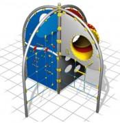 Mur d'escalade avec tunnel de jeu - Dimensions (L x P x H) cm : 323 x 323 x 300