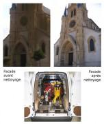 Nettoyage de facade d'église - Techni 17 L.HP - Granulats AF 180