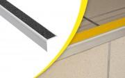 Nez bord de marche simple - Matière : aluminium - Longueur : 1,5 ou 3 m - Largeur du nez de marche : 39 mm