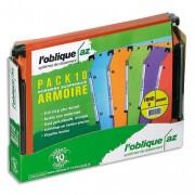Pack 10 dossiers suspendus AZV kraft orange pour armoire fond V 500040 - L'Oblique AZ