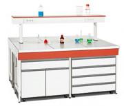 Paillasse humide de laboratoire - Dim. hors tout (L x P x H) en mm : 1200-1500 x 600 x 900 / 1200-1500 x 750 x 900