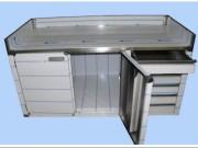 Paillasse sèche sur meuble inox - Portes battantes et tiroirs  -  3 dosserets