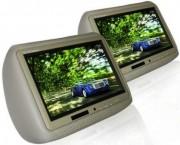 Paire d'écrans 9'' Appui-tête cuir Emetteur IR 3 couleurs - Réf: TM-920HDUO