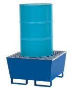 Palette de rétention 1 fût à 200 litres - En acier avec caillebotis et pieds fourreaux