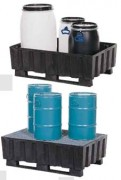 Palette de rétention 2 fûts de 200 litres - Capacité de stockage avec caillebotis : 2 fûts de 200 litres
