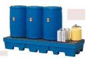 Palette de rétention 4 fûts 200 Litres - Capacité de stockage avec caillebotis : 4 fûts de 200 litres