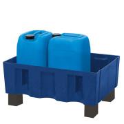 Palette de rétention en polyéthylène 4 x 200 L - Capacité de stockage : 4 fûts de 200 litres