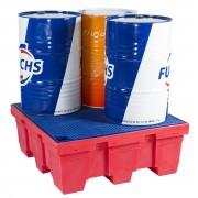 Palette de rétention plastique pour 4 fûts - Capacité de rétention : 450 litres