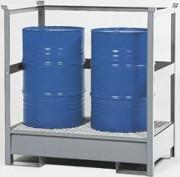 Palette de rétention pour 2 fûts avec traverses de protection - Palette de rétention pour 2 fûts de 200 litres