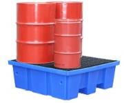 Palette de rétention recyclable 4 fûts - Volume : 440 litres - palette de rétention
