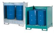 Palette de rétention superposable 200 litres - En acier, carénée et avec caillebotis
