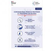 """Pancarte """"gestes barrières"""" COVID - Matière :PVC blanc - Vinyle adhésif ou PS - Dimensions : de 20 x 30 cm à 27 x 40 cm"""